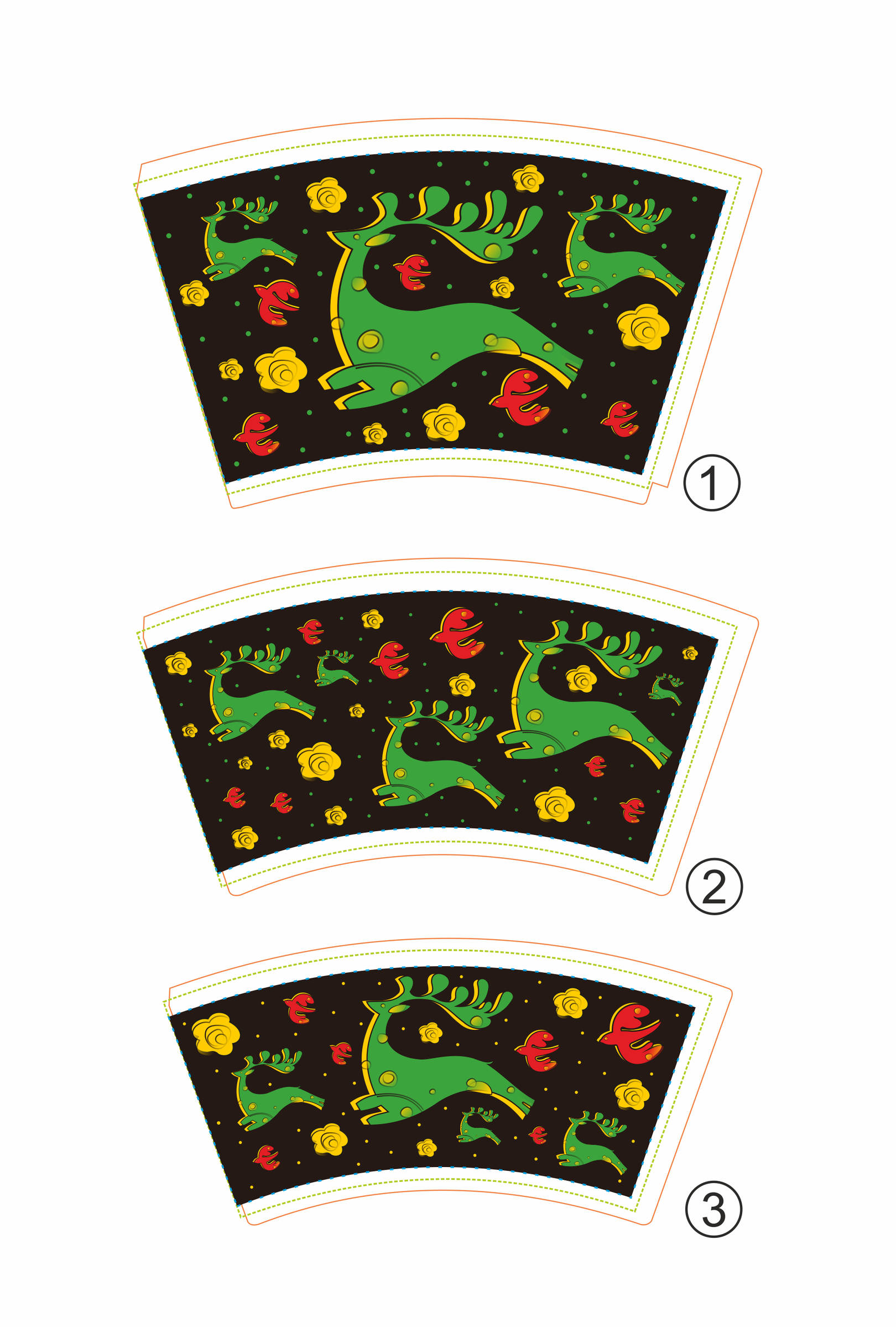 Дизайн-иллюстрация оформления стаканчиков. Олени.