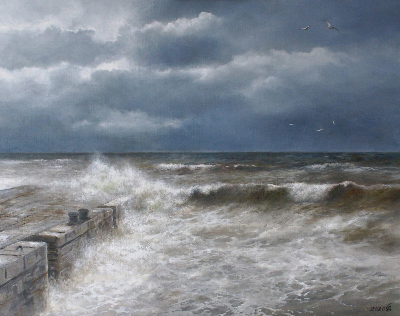 Море штормит - холст/масло, 40х50, 2020