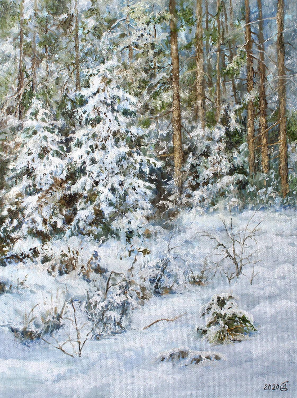 Зимушка-зима - холст на картоне/масло, 40х30, 2020