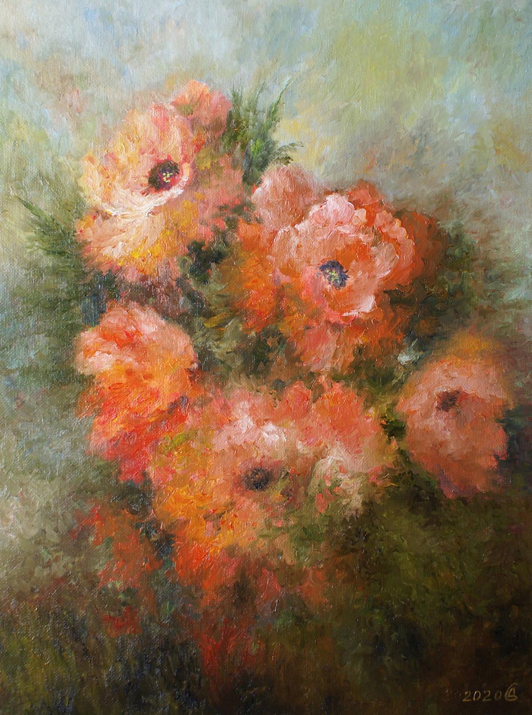 Маки цветут - холст на картоне/масло, 40х30, 2020