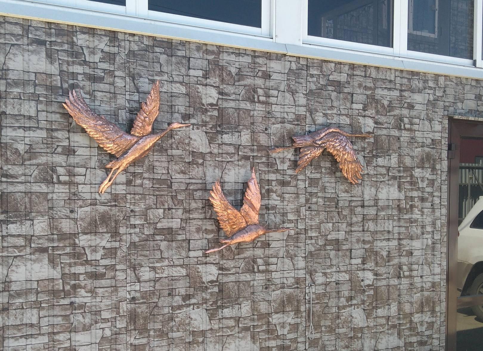 "Триптих. "" ..а утки летят"" из серии ""Медные петроглифы"". Иркутске 2020.Медь. Металлопластика.Чеканка.Торевтика."