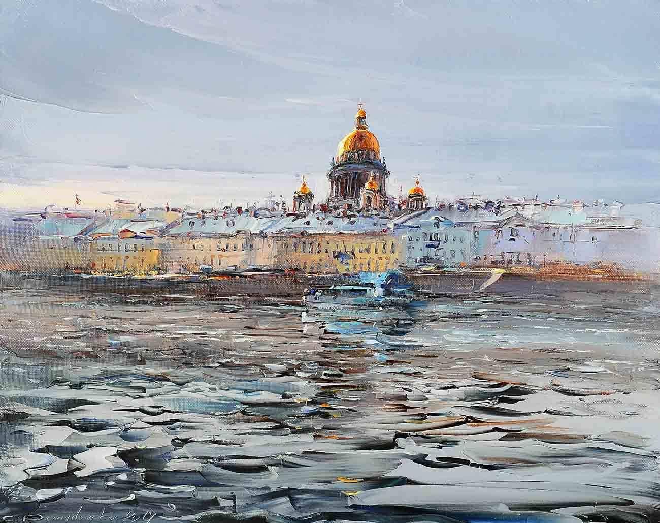 """""""Заревой""""  55х70 холст, масло/мастихин;  Санкт-Петербург - Омск 2020"""
