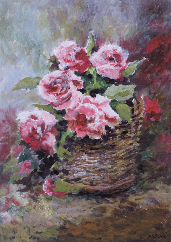 Корзинка с розами - бумага/акрил, 30х21, 2020