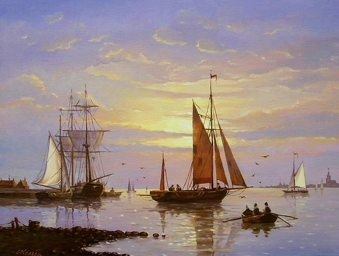 Рыбацкие лодки на закате