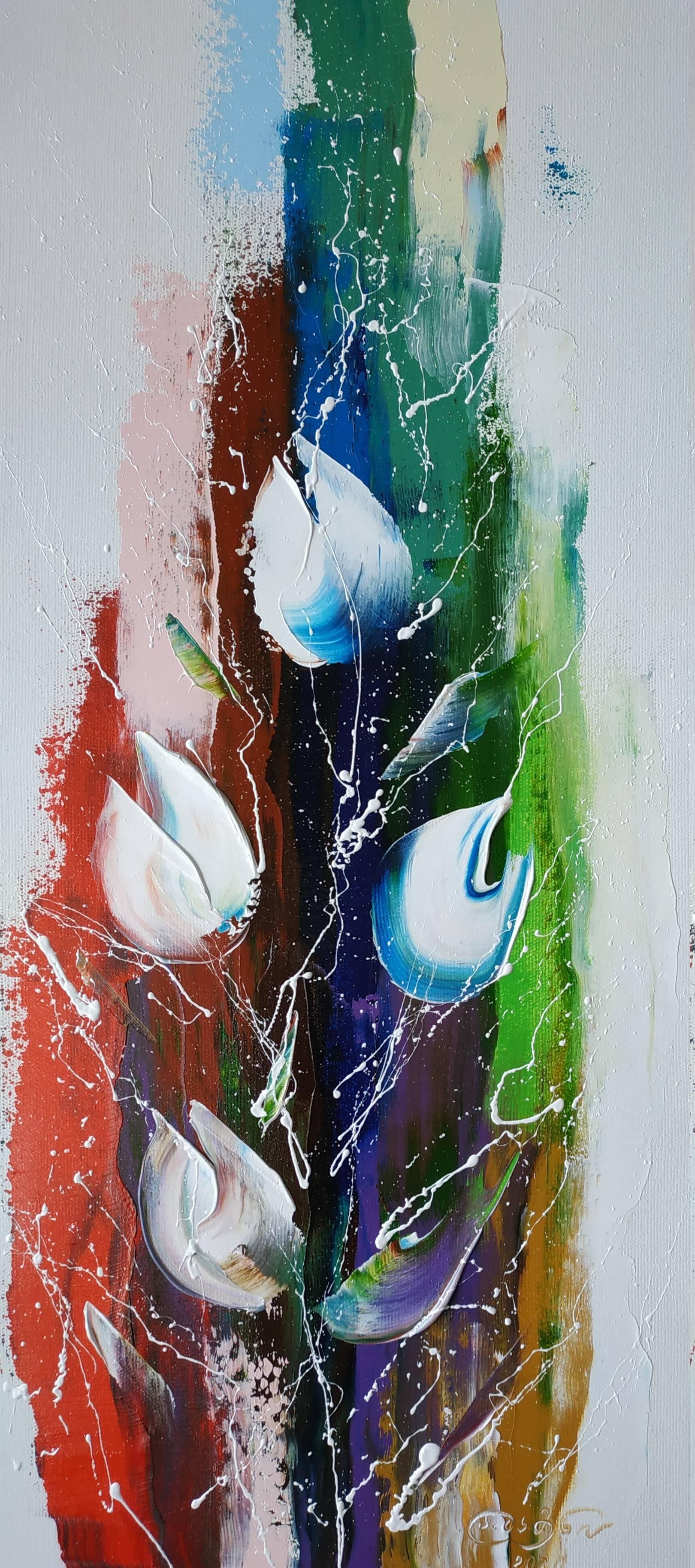 «Белые цветы»       холст, масло «White flowers»  oil on canvas                                                      70x30,  2020
