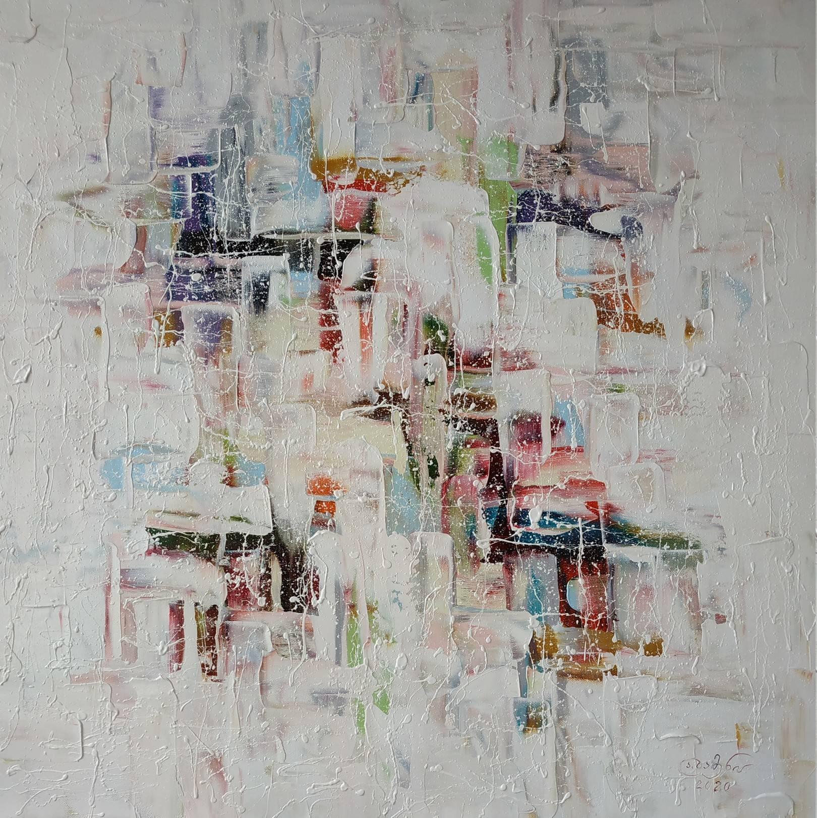 «Улицы после дождя — отражения»       холст, масло «Streets after rain - reflections»  oil on canvas                                                      80x80,  2020