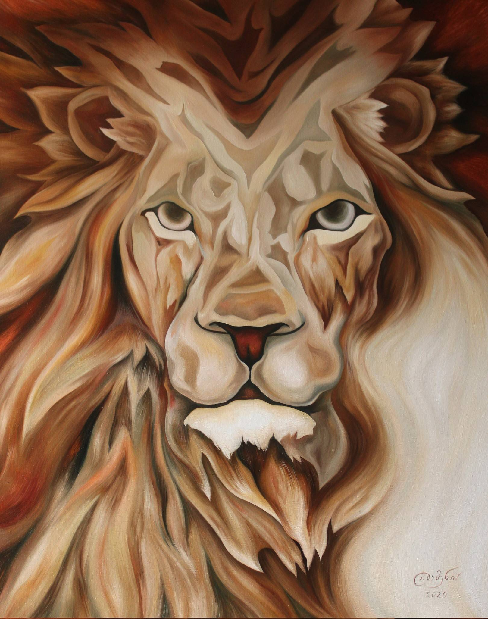 «Лев — Астрологический автопортрет»                                холст, масло «Lion - Astrological Self Portrait»                                              oil on canvas    100x80, 2020