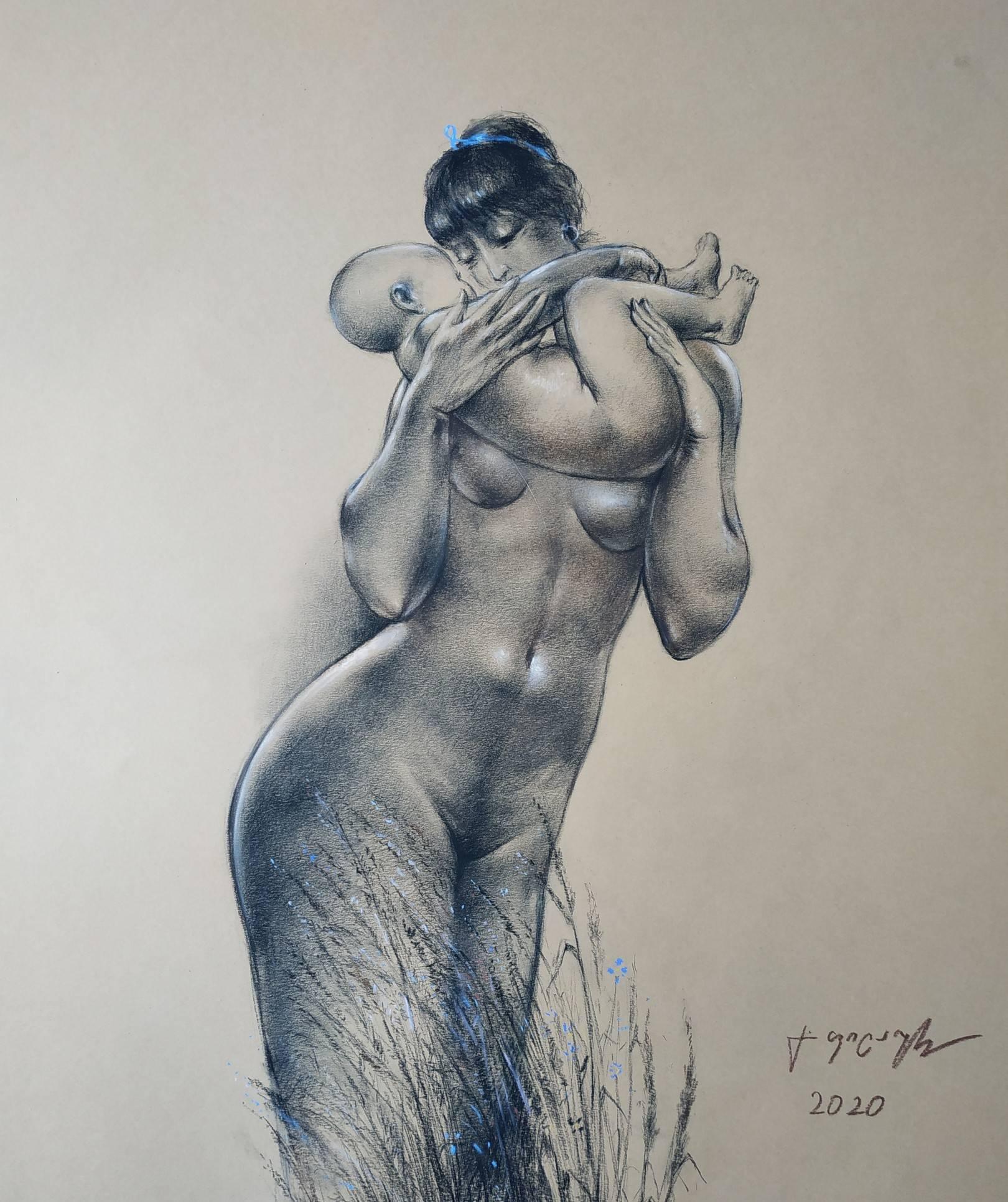 «Мать и дитя»             бумага, пастель «Mother and child»     paper, pastel        57x45, 2020