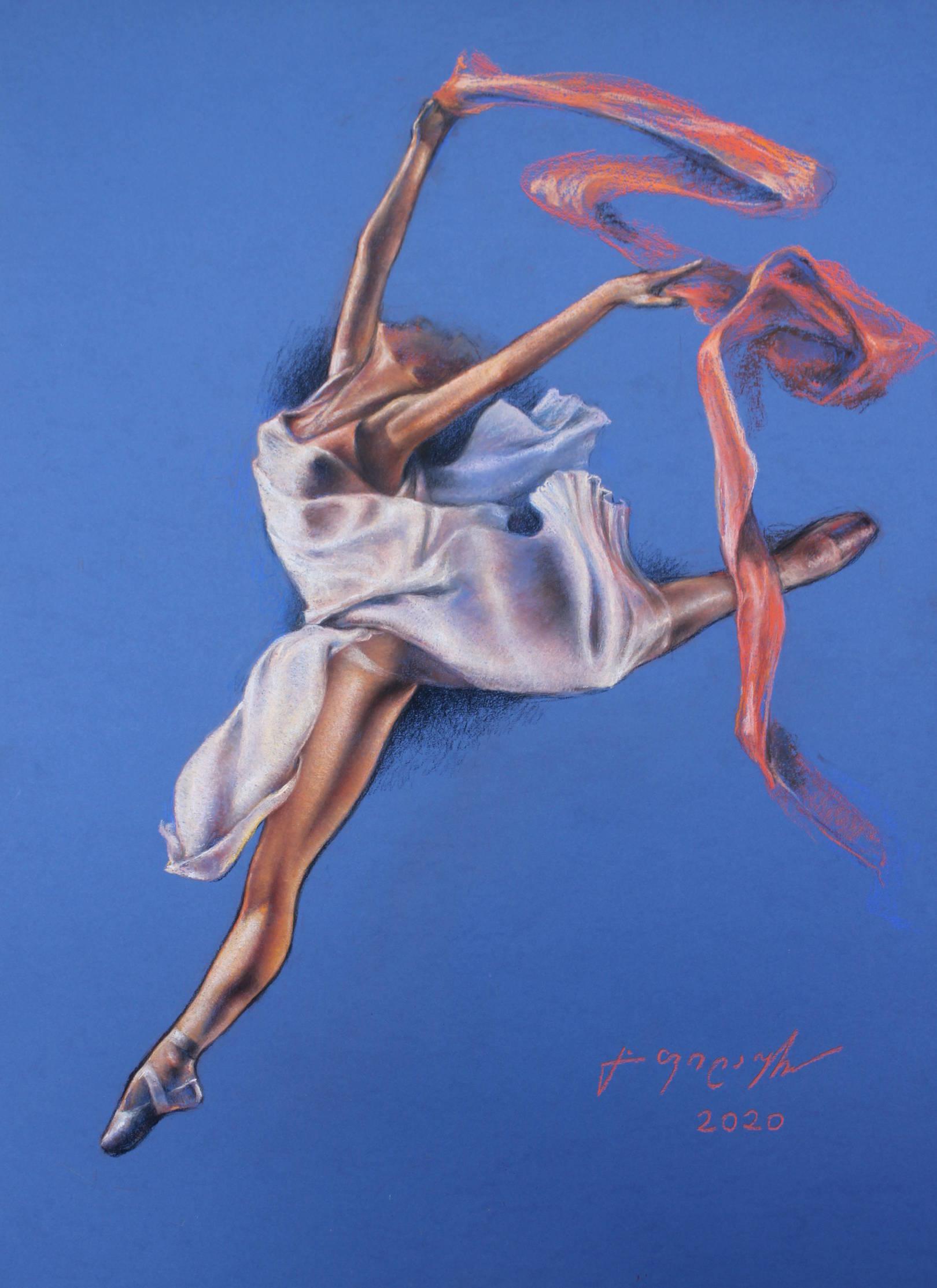 «Танец»        бумага, пастель «Dance»         paper, pastel           69x49, 2020