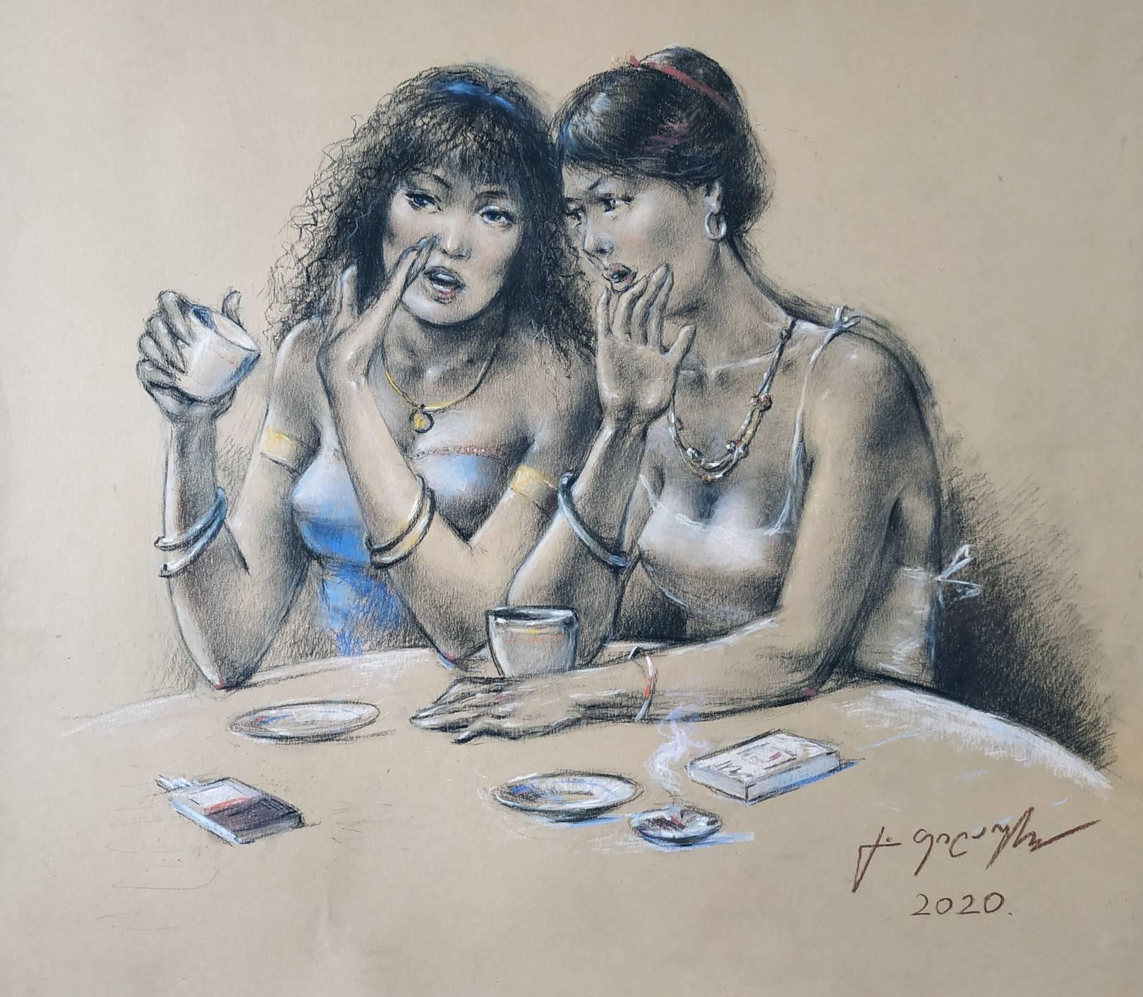 «Сплетницы»    бумага, пастель «Gossips»            paper, pastel           40x45, 2020