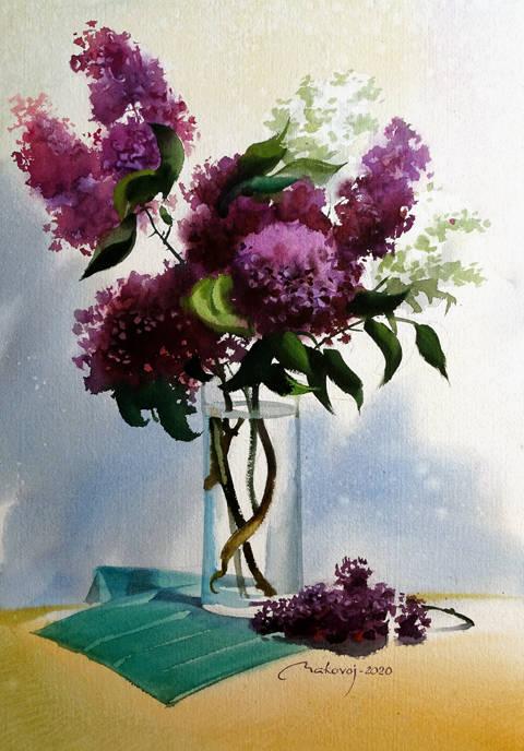 ,,Сиреневый танец ,, свежеиспеченная акварель, исполненная на DMD watercolor paper,360 гр.56x35 см.2020 г.