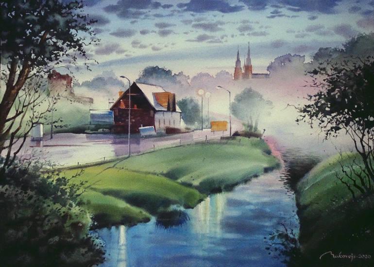 ,,Вечерний туман,, Акварель в полный лист DMD watercolor paper,360 гр. 53x73 см.2020 г. Исполнено во время пленера в г.Резекне,Латвия.