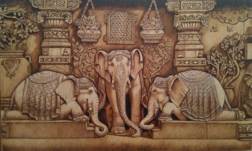 Храм Сваминараян Акшардхам ( Индия ) .Выжигание, формат А2 ( 60 х 40 см)  Ручная работа (Узор-1+паяльник)