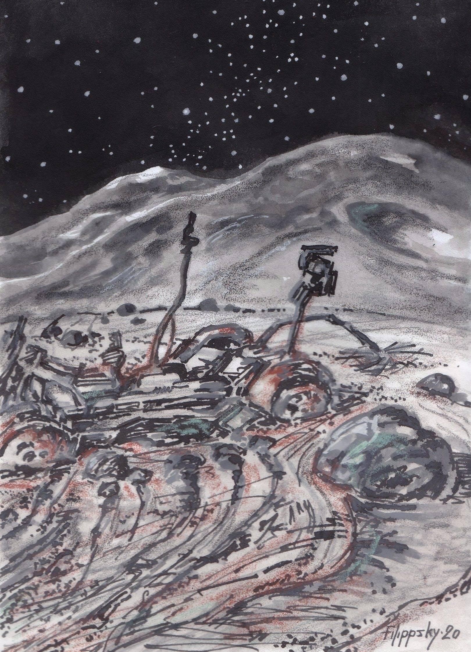 """Лунные трованты и остатки ровера """"Аполлона-15""""."""