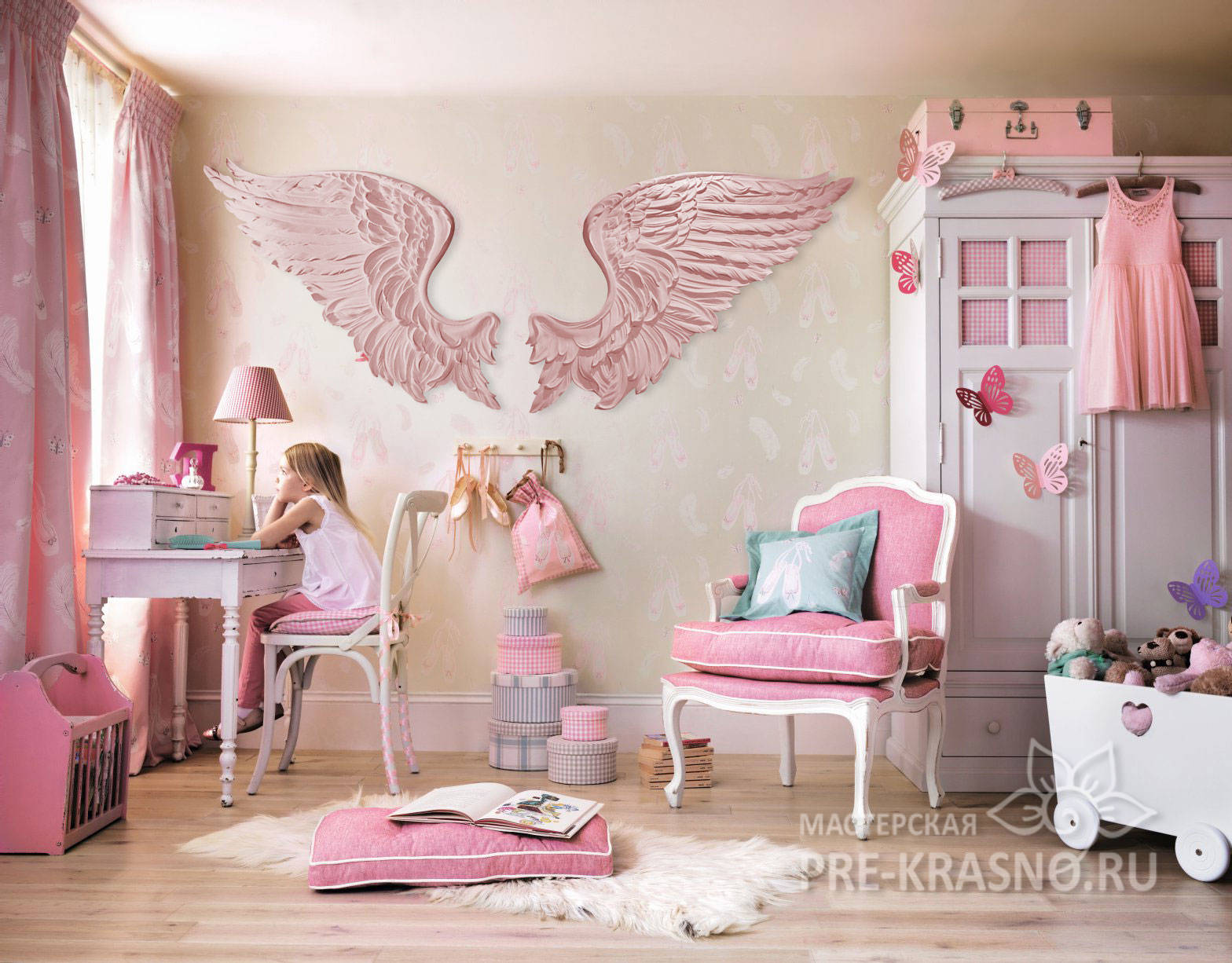 Гипсовые крылья ангела розовые