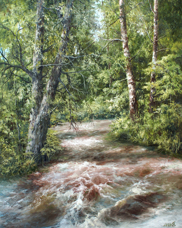 Лесной ручей - холст/масло, 50х40, 2020