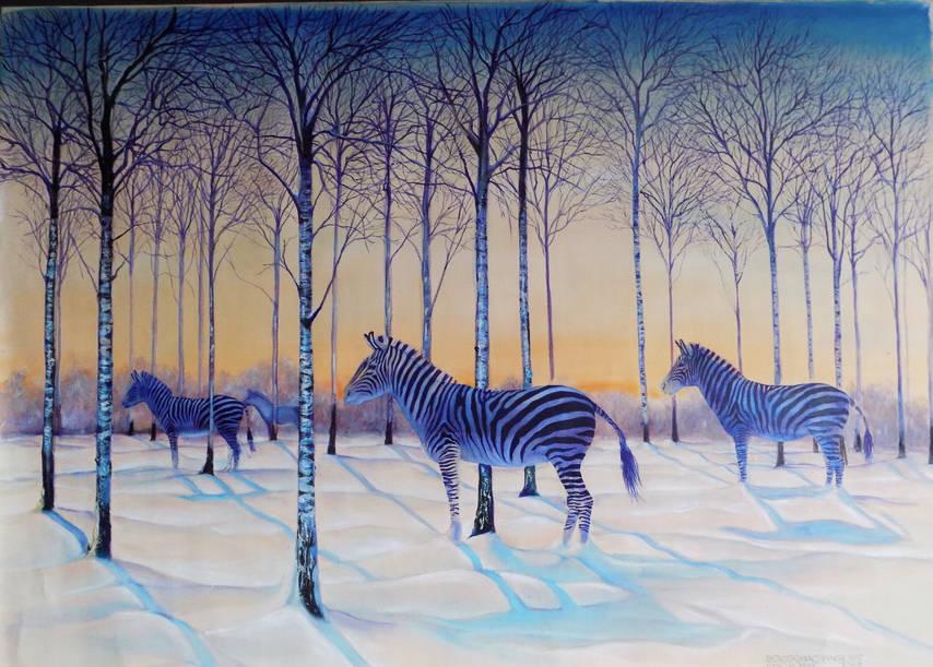 zebras in winter   100cmx69cm oil