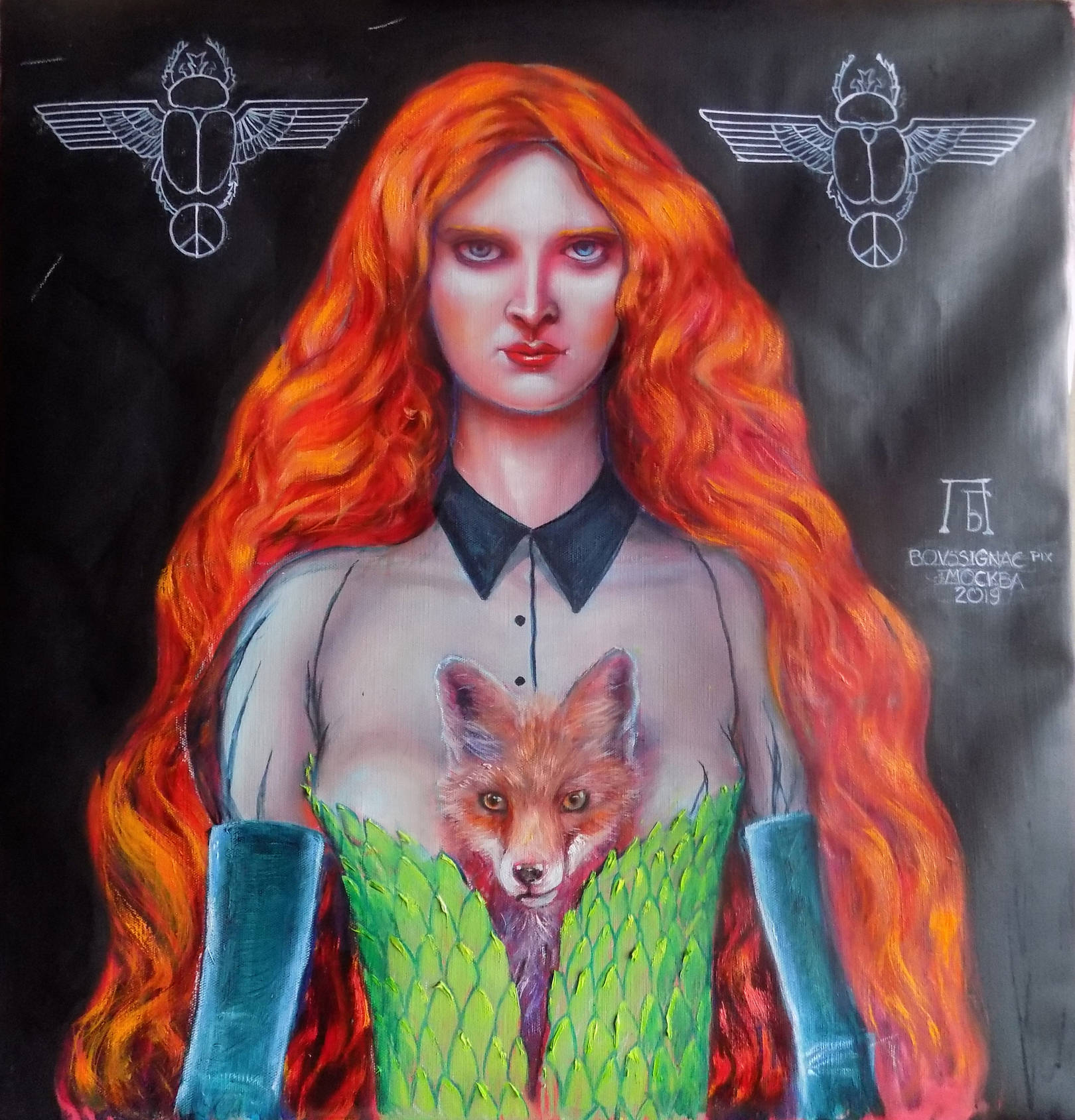 Foxy lady.  61x64cm   oil