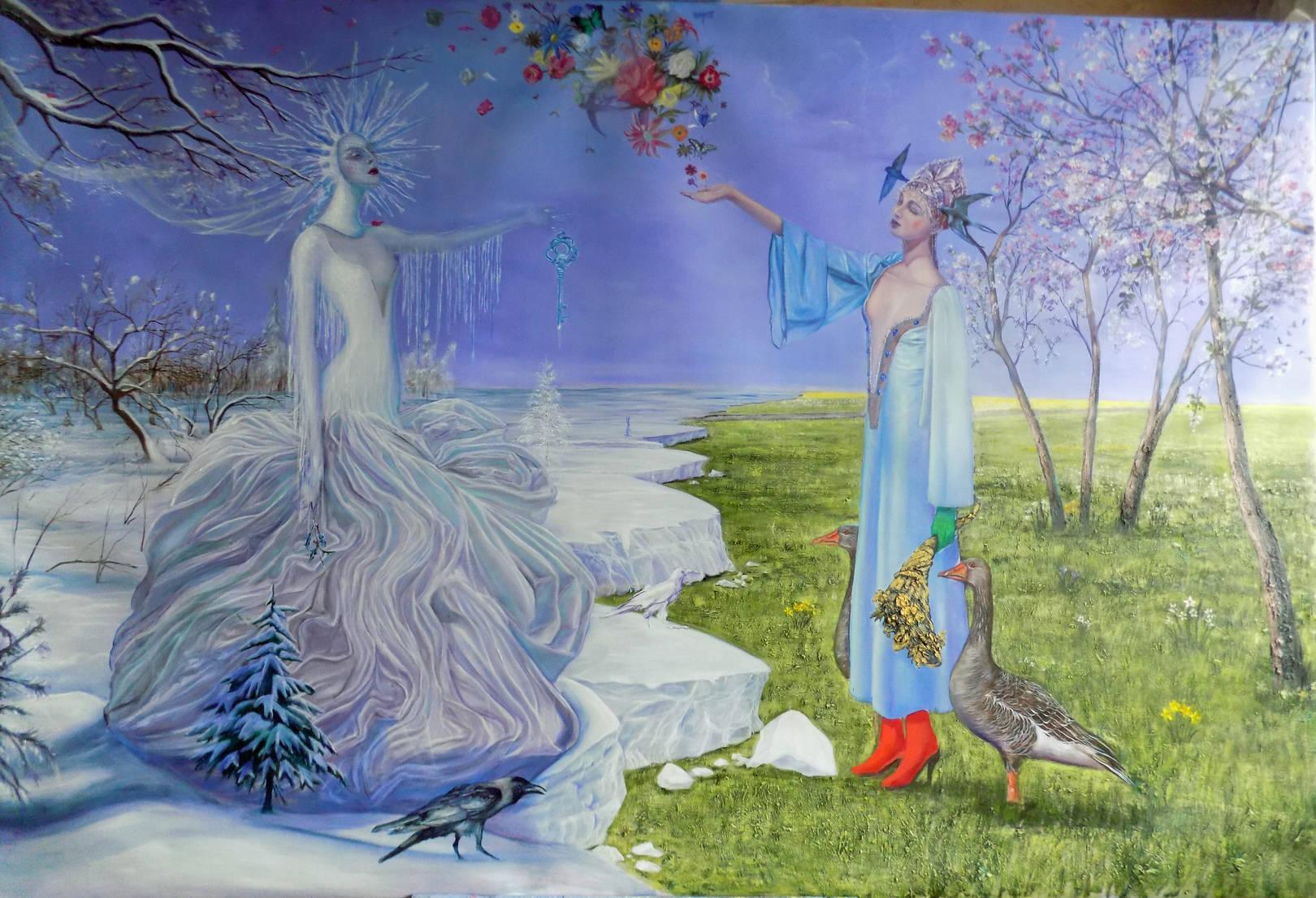 the coronation of Spring.   195cmx130cm. oil