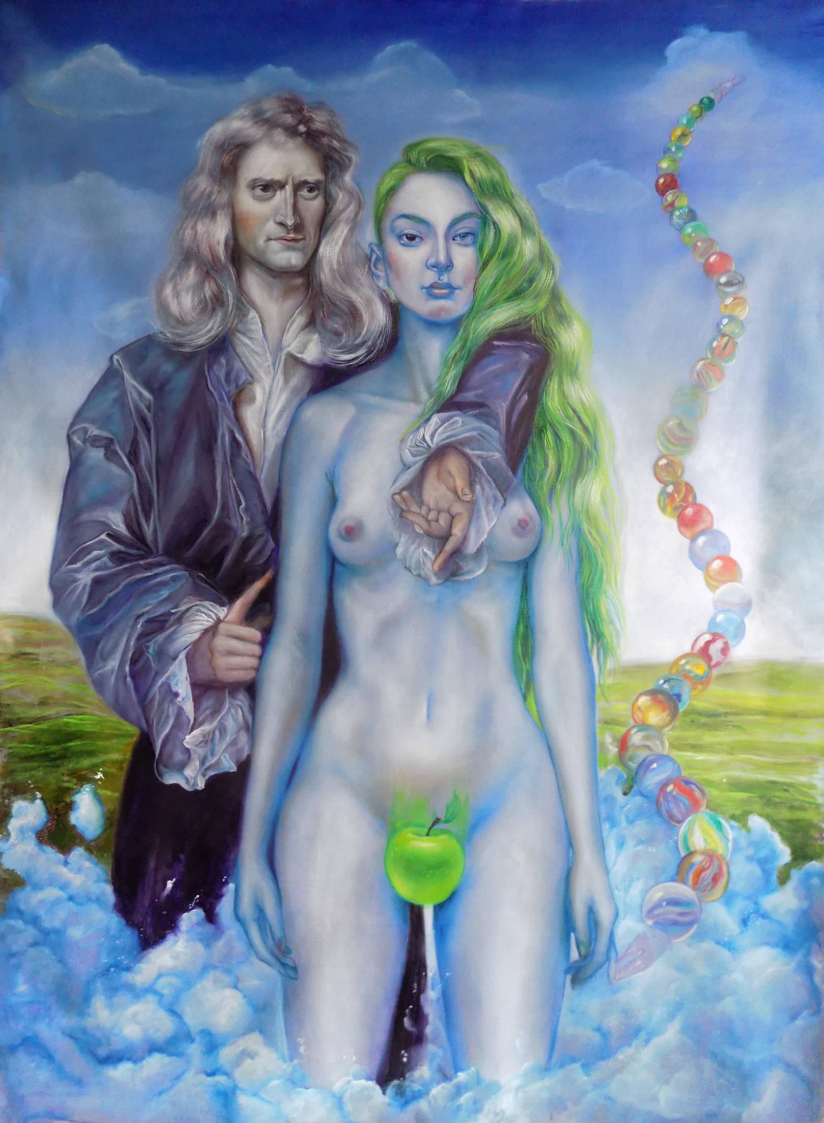The apple (Eva. and. Newton  ). 114x146cm   oil