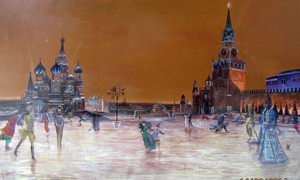 Red square skaters. 195x130 cm. oil