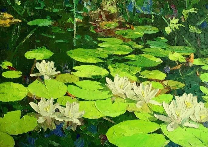Кувшинки, река, лето, пейзаж, реализм, цветы 50х70