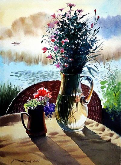 ,,Букет с полевыми цветами,, акв.бум.Artistiko+Fabriano,300 гр.57x38 см.2020 г. (Вспоминая путешествие в страну Латгалию).