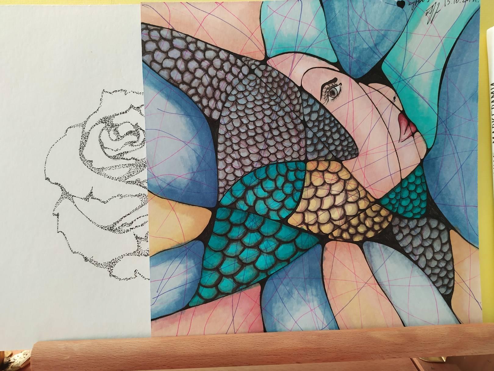 Девушка-рыба, автопортрет