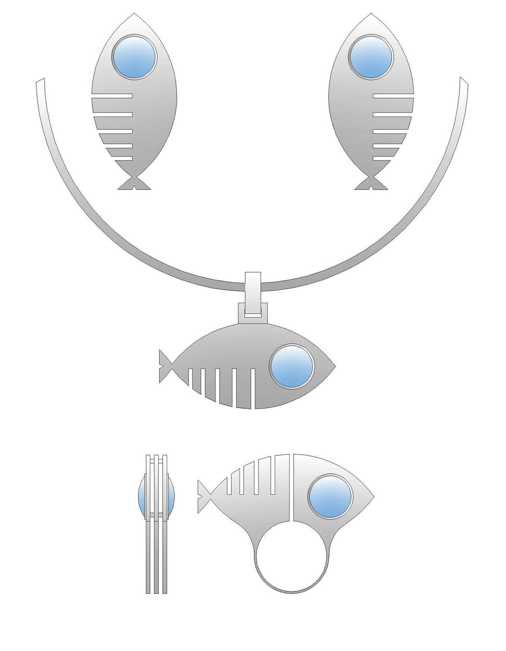 Проект. Комплект из серебра. Рыбки.