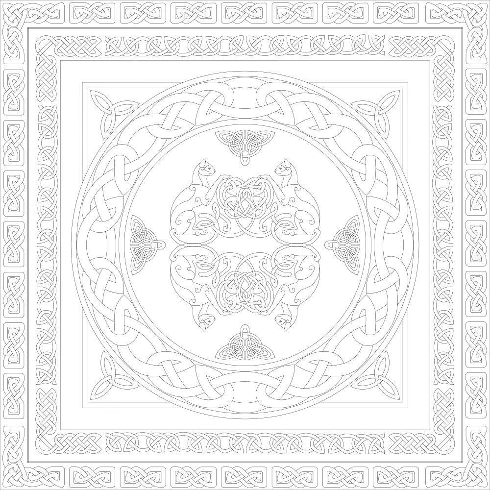 Платок. Кельтский мотив на белом.