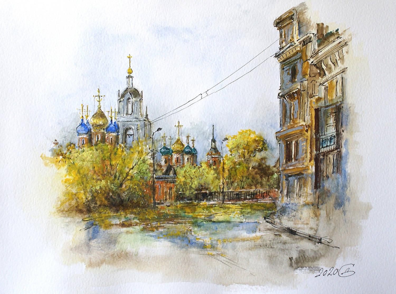 Москва. Улица Варварка - бумага/смешанная техника, 24х32, 2020