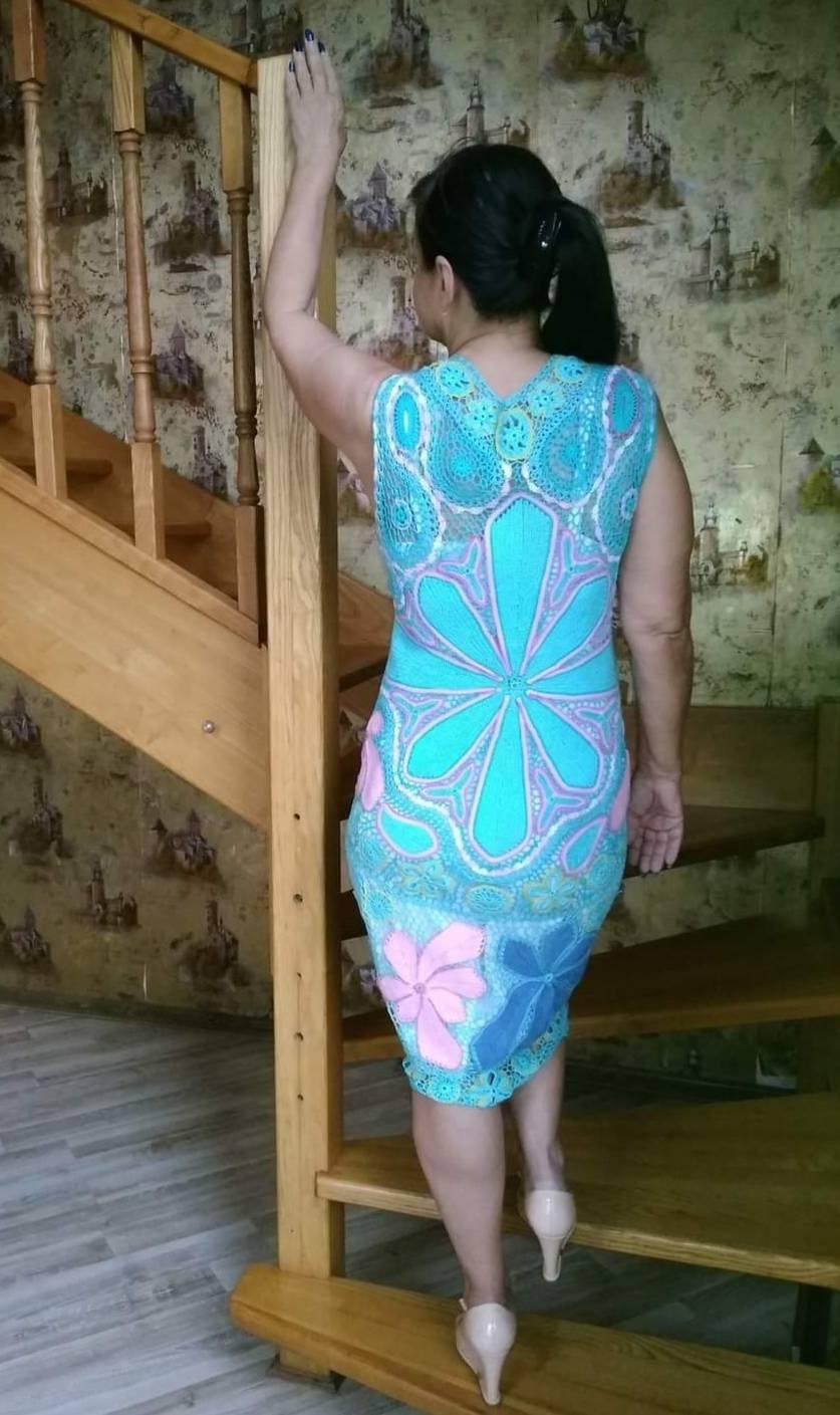 "Платье""Голубая лагуна"". Техника ирландское кружево."