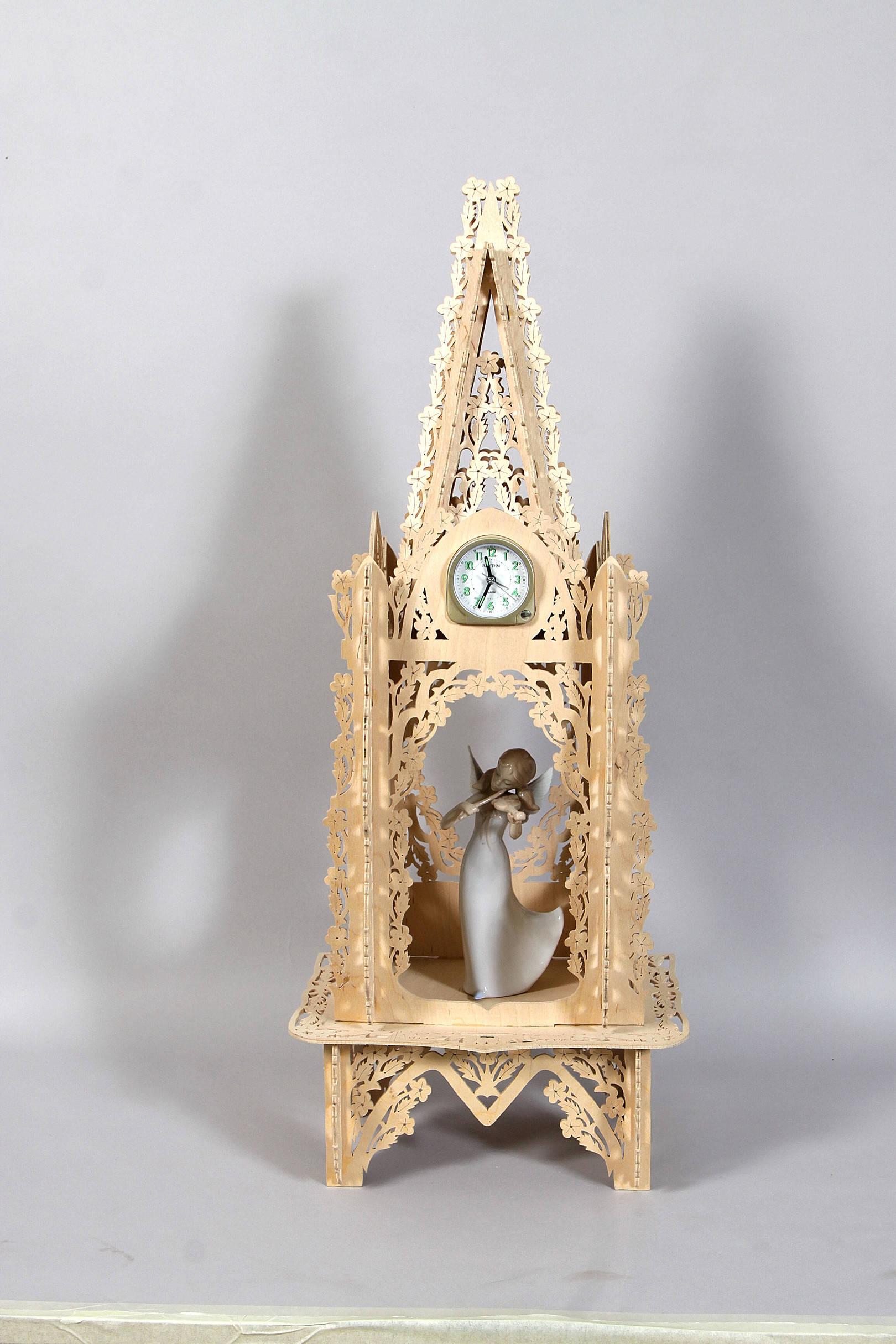 """Часы каминные """"Муза"""" Материал фанера, ручной лобзик."""