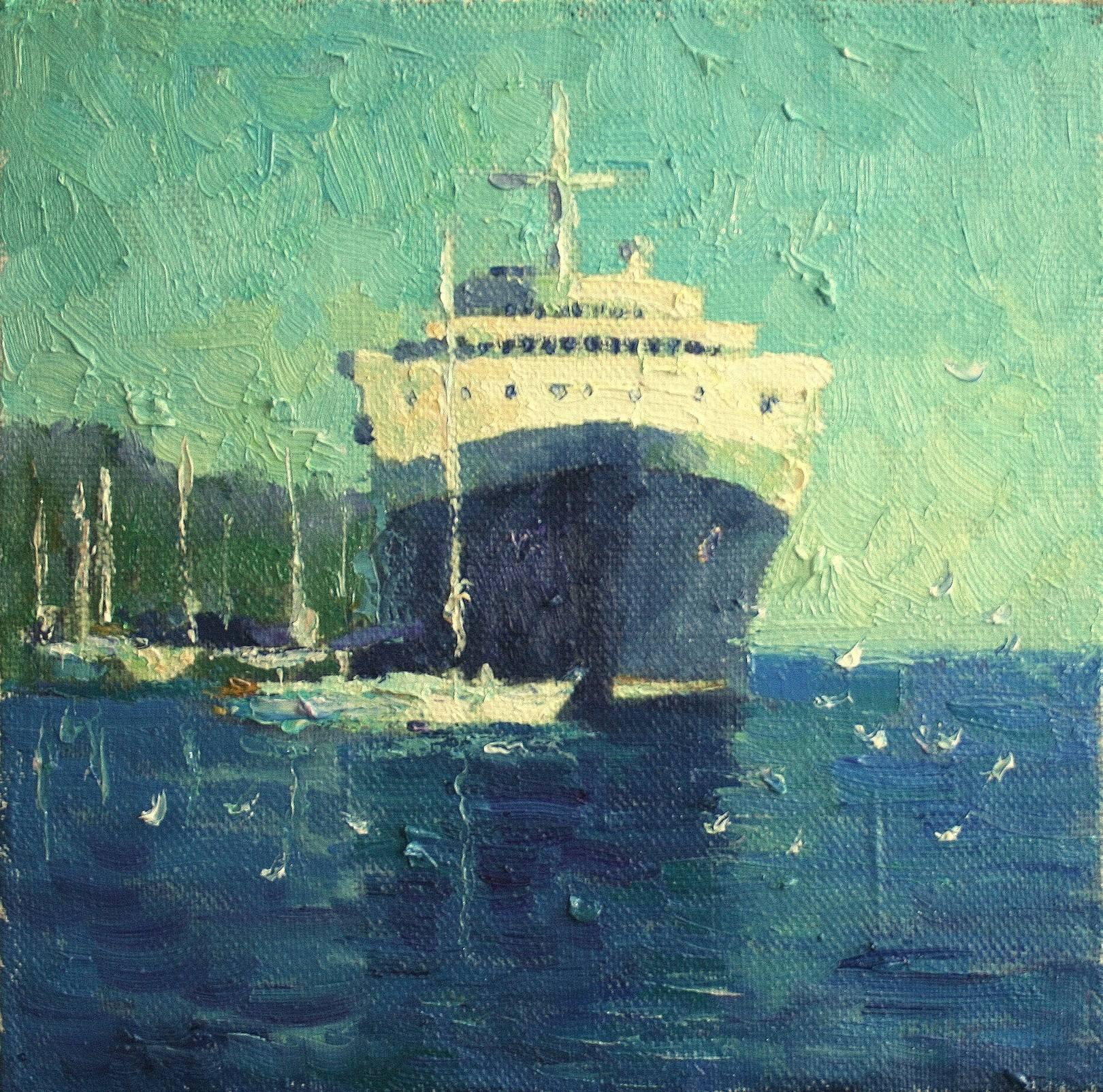 «В порту Мармариса» холст, масло, 35х35 см, 2020