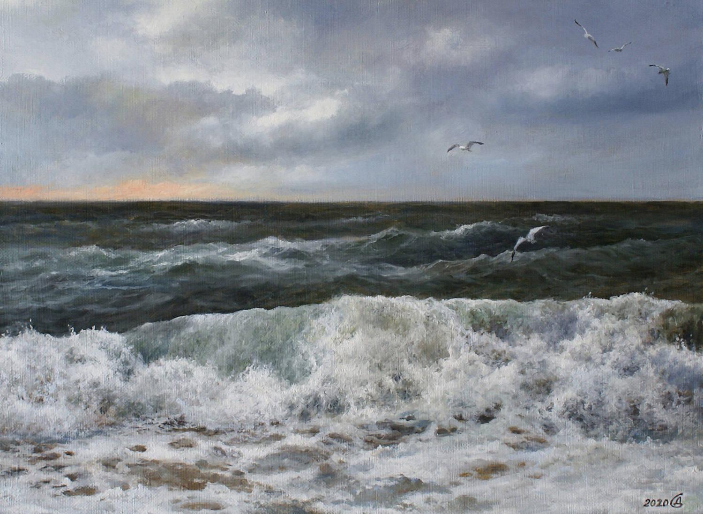 Море шумит - холст/масло, 30х40, 2020