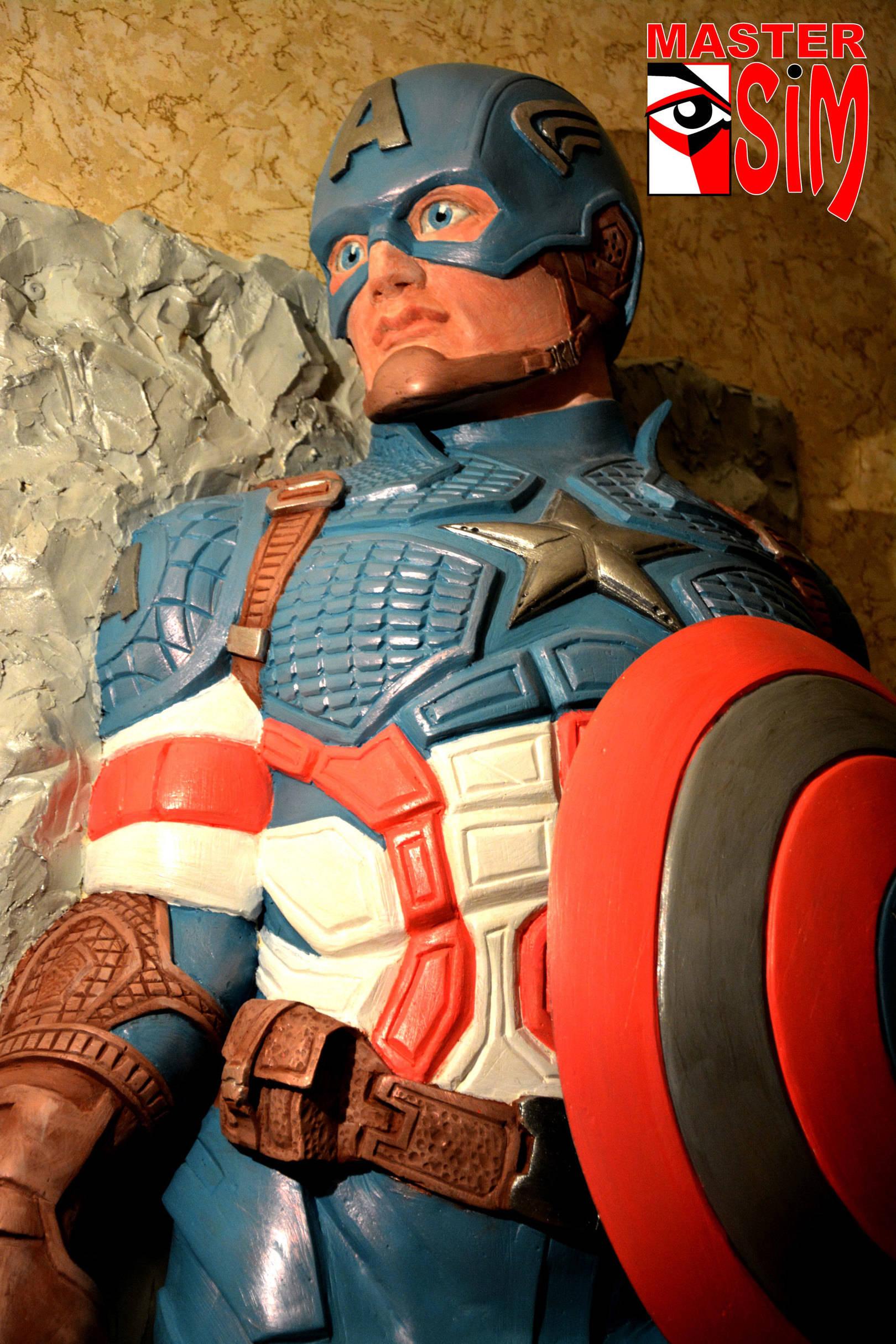 Барельеф (горельеф) Капитан Америка для детской стоматологии Санкт Петербург.