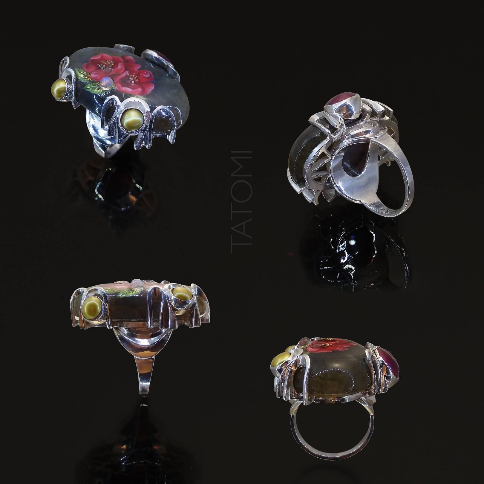 кольцо, серебро, расписной лабрадорит, тонированный жемчуг.