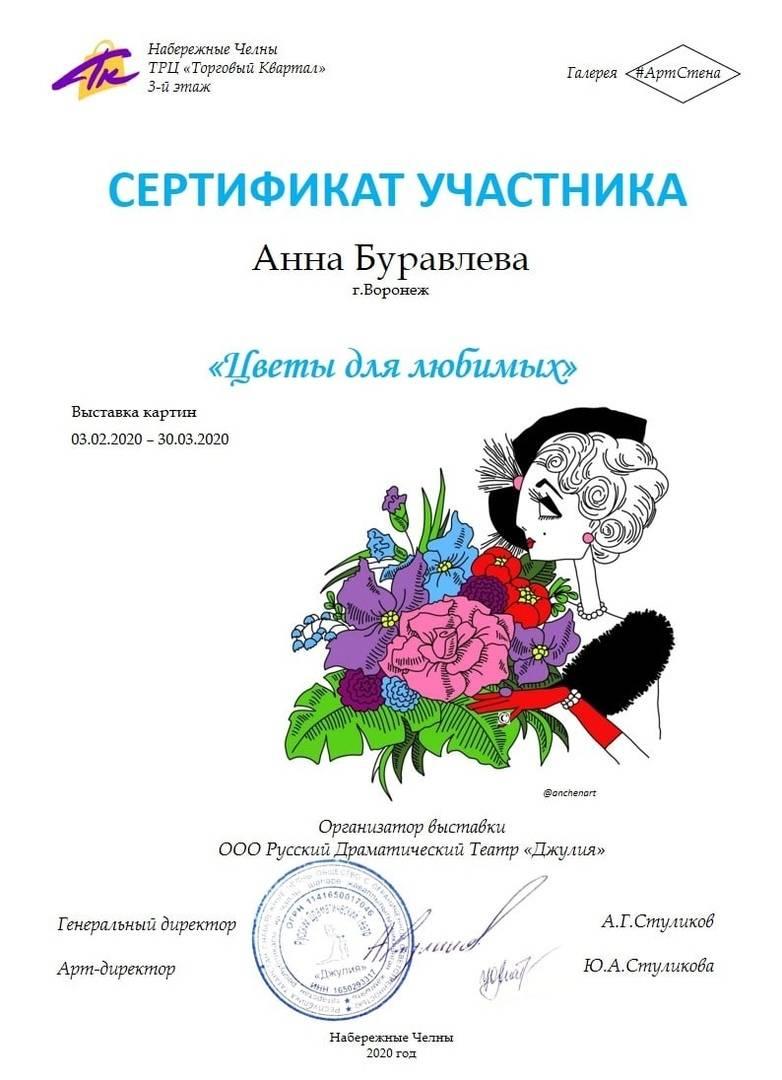 """Сертификат участника коллективной выставки """"Цветы для любимых""""."""