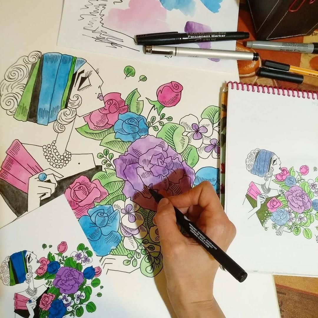 """Работа над картиной """"Нежность"""",  бумага, акварель, тушь, формат А4. Авторский стиль """"Острые леди""""."""