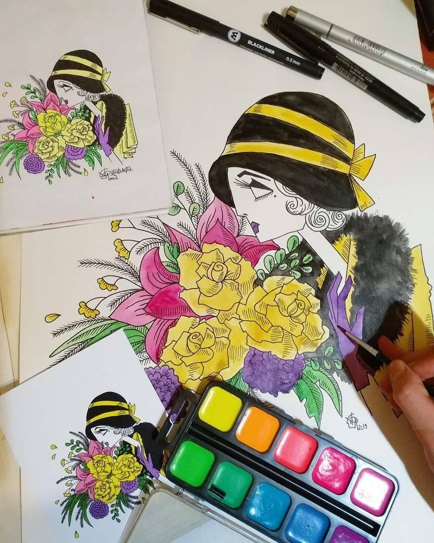 """Работа над картиной  """"Маргарита"""", бумага, акварель, тушь, формат А4."""