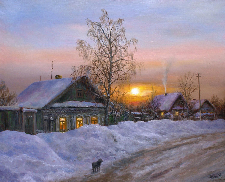Зимний вечер в деревне - холст/масло, 40х50, 2020