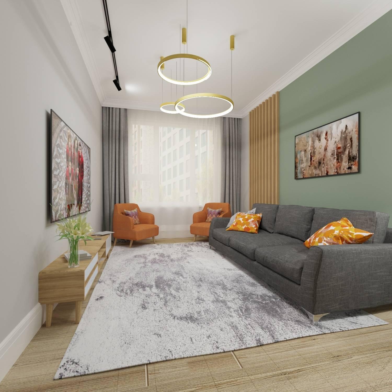 Гостиная для молодой семьи, которой важно удобство, наличие свободного пространства и уют. Проведение семейных вечеров должно быть комфортным, а интерьер добавит настроения в любую погоду.