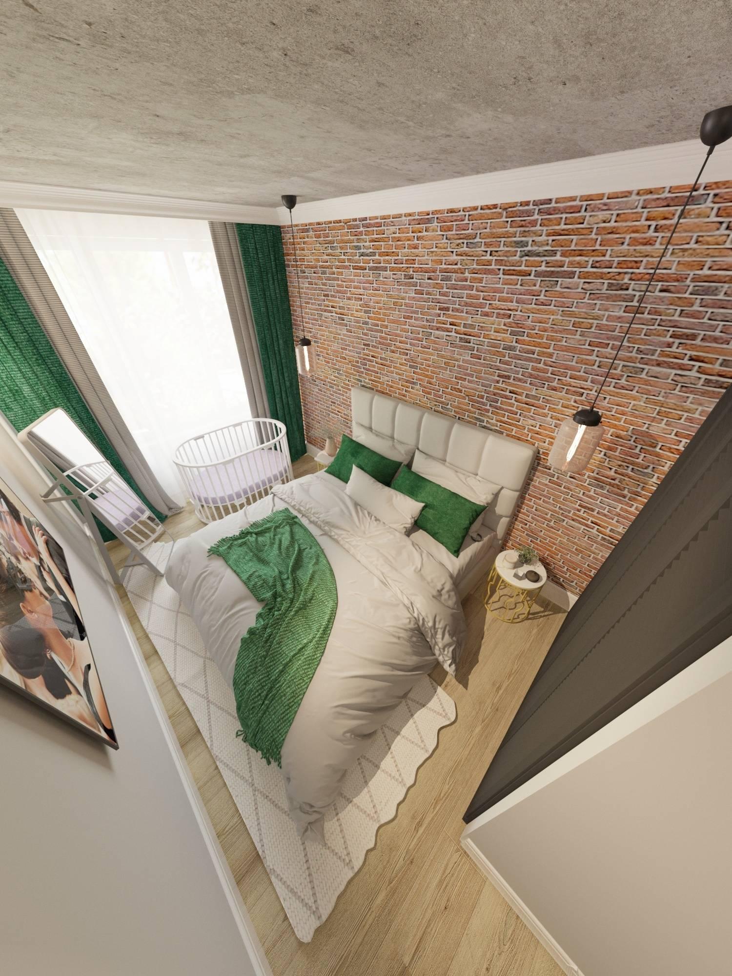 Брутальная спальня для молодой семьи. Элементы стиля лофт создают не типичное пространство, которое отражает характер заказчиков.