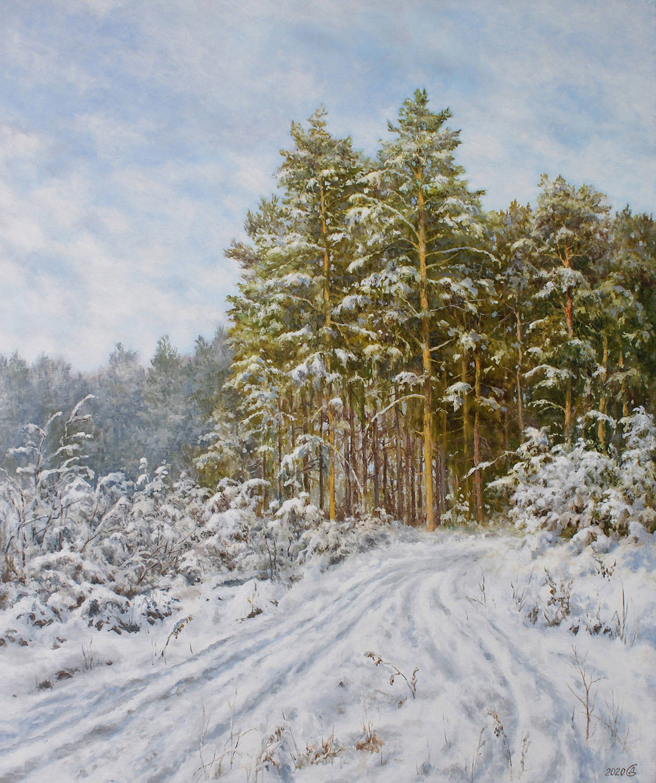 Зима на опушке леса - холст/масло, 60х50, 2020