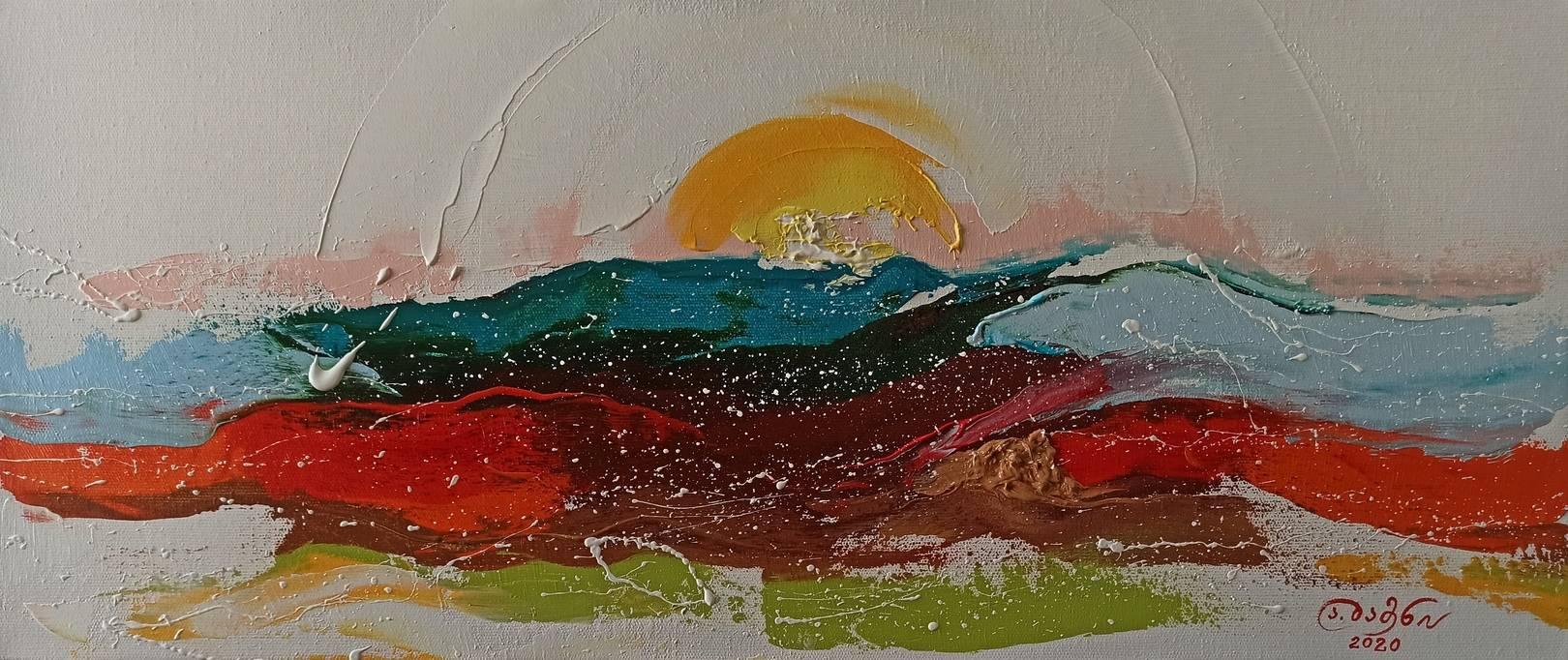 «Рассвет – новые надежды»       холст, масло «Dawn - new hopes» oil on canvas    30x70, 2020
