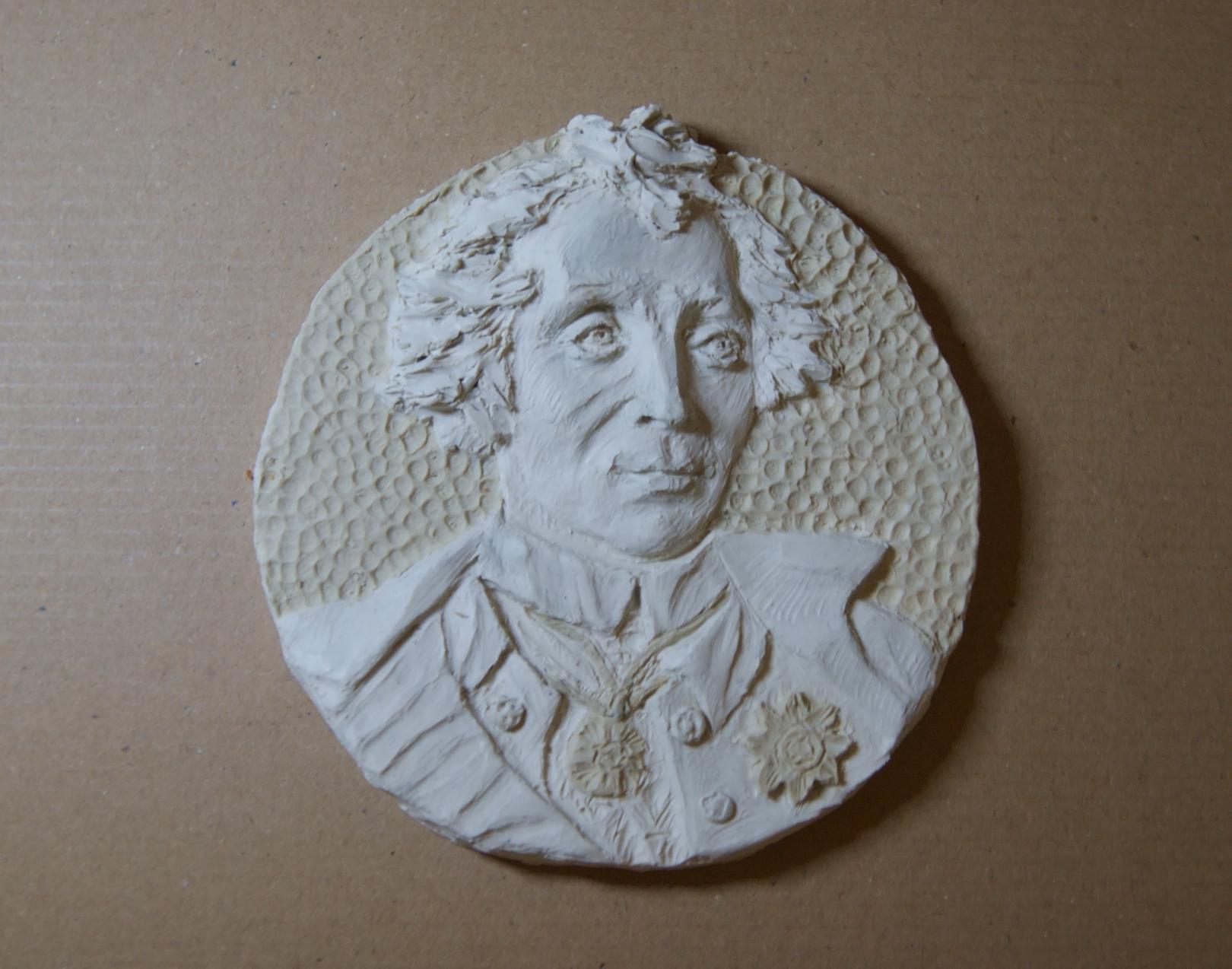 Суворов А.В. Эскиз. Работа выполнена по последним прижизненным изображениям. Скульптурный пластилин.Диаметр 12 см.
