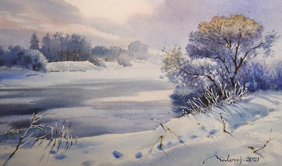 ,,Вчера был снег,, Акв. бумага Arches 180 гр.2021 г.