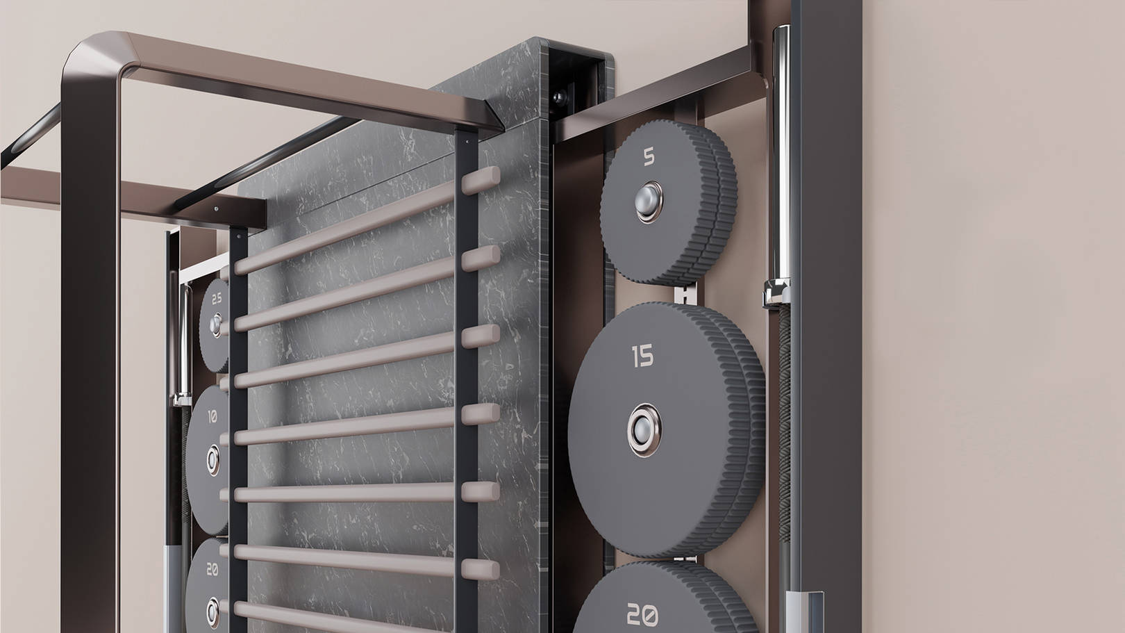 The heavy power rack has been transformed into an elegant, functional product. Safety and ease of use make the product useful for people of any age and level of physical fitness. The equipment takes up little space, which allows to place it in the interior of an office, apartment or private house. It is also suitable for hotels, fitness clubs and spas, whose customers value a unique and exclusive design.