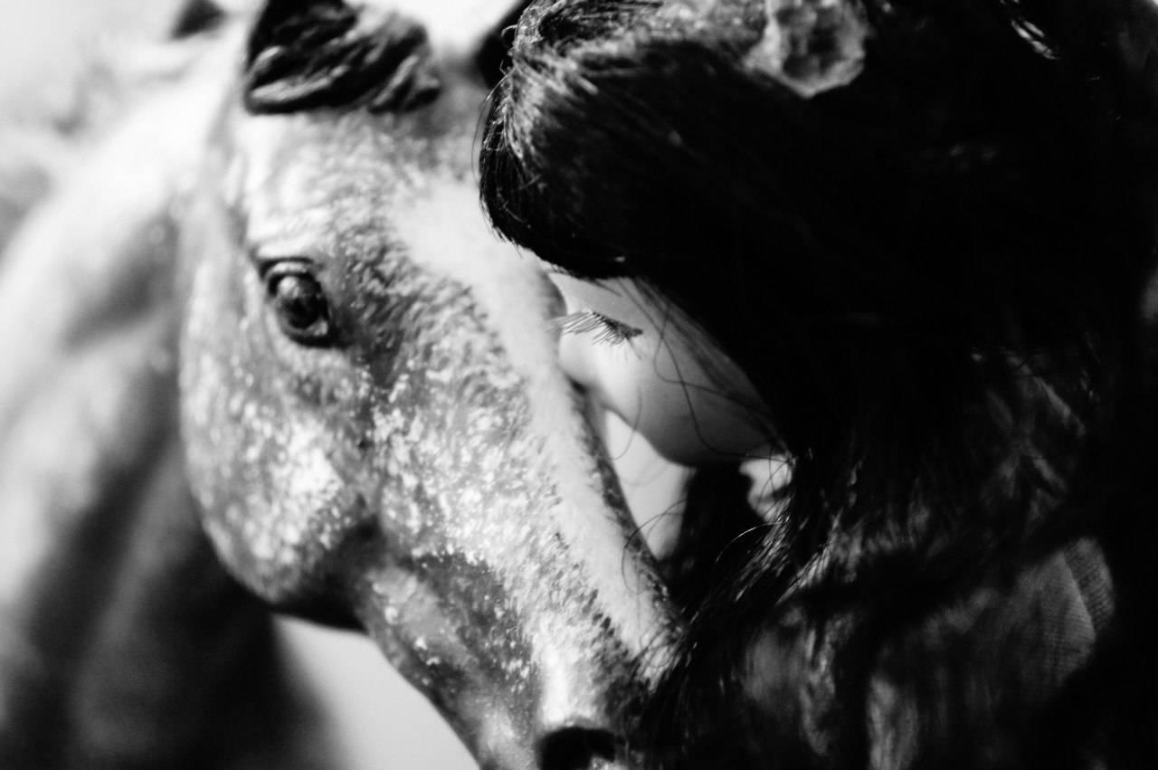 """Постановочное фото миниатюрной модели лошади """"Breyer"""" """"Нежность"""""""