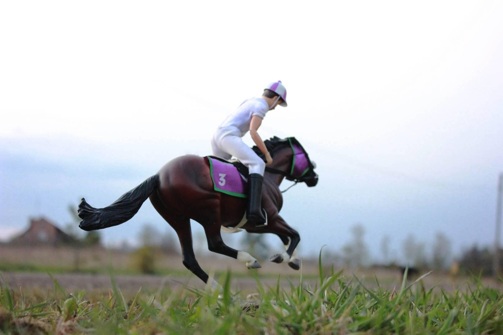 """Постановочное фото миниатюрной модели лошади """"Breyer"""" """"Франкель - лучшая скаковая лошадь английской верховой породы в мире"""""""